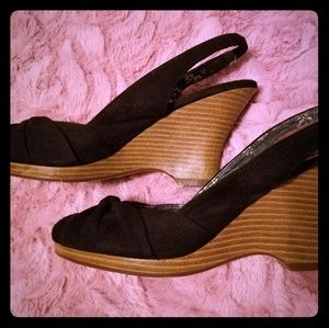 American Eagle Black Wedges Size 9.6